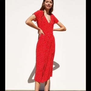 Zara Red and White Polka Dot Dress ❤️